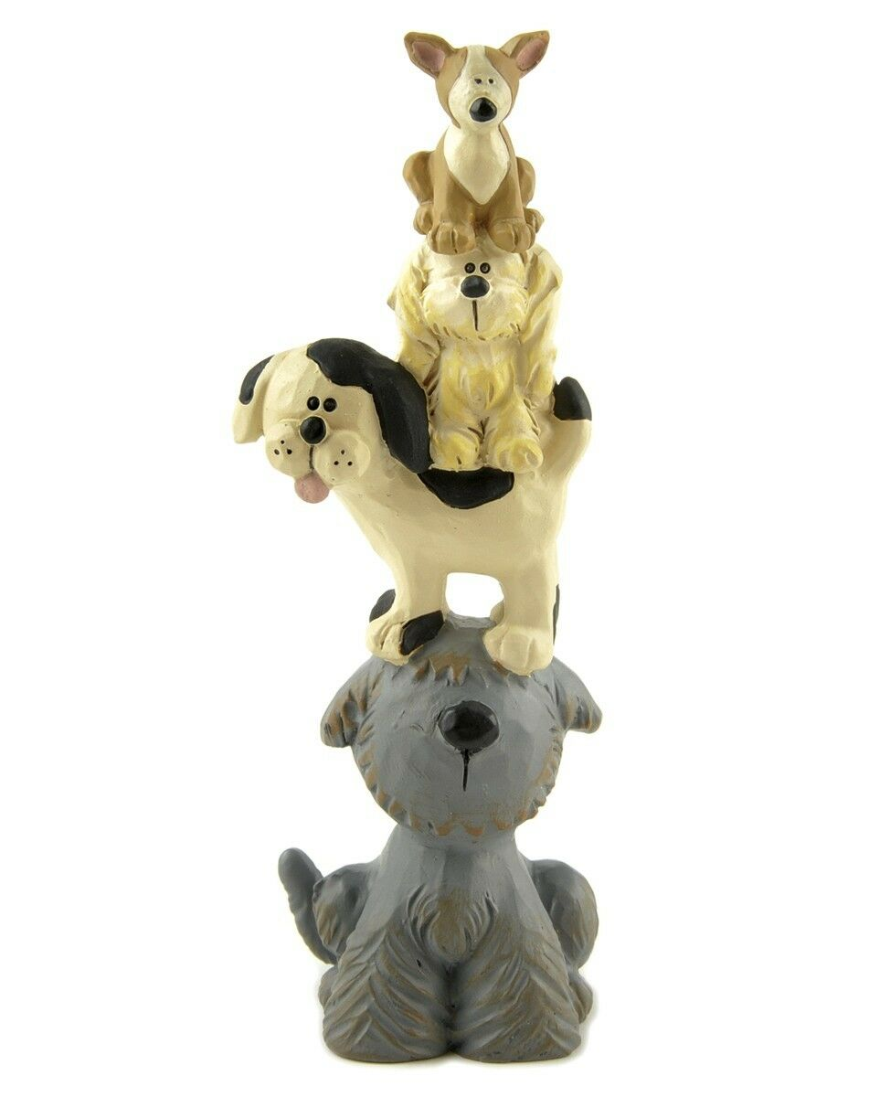 Dog ornament figure tower of dogs figurine 12cm quirky gif for Quirky ornaments uk