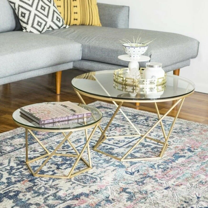 Modern Glass Coffee Table 2 Nest Tables Metal Side Set Large Room End Furniture 1 Of 1free