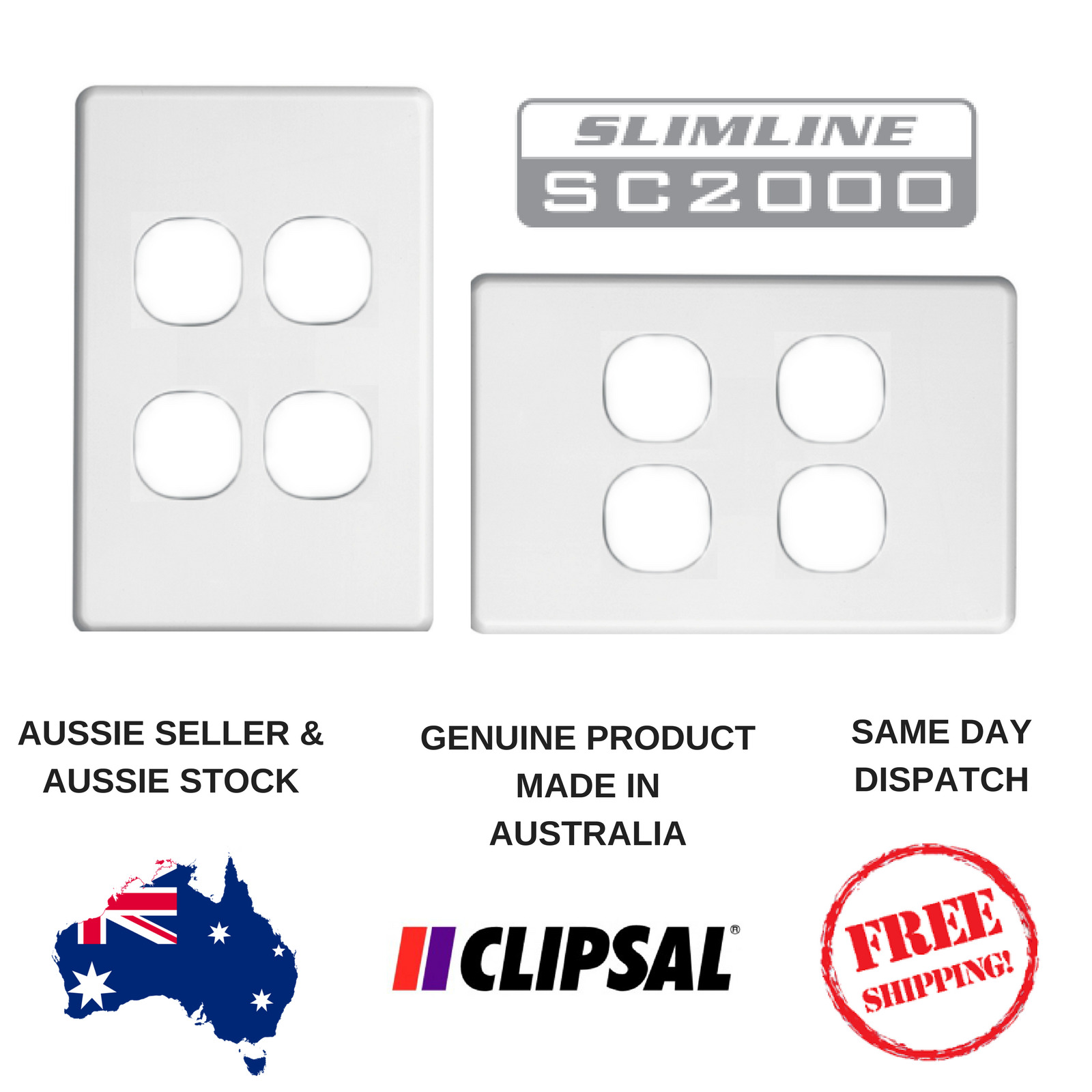 White Cover Plate To Suit Clipsal Slimline 4 Gang Switch Sl2034vh Hpm Two Way Light 1 Of 4free Shipping