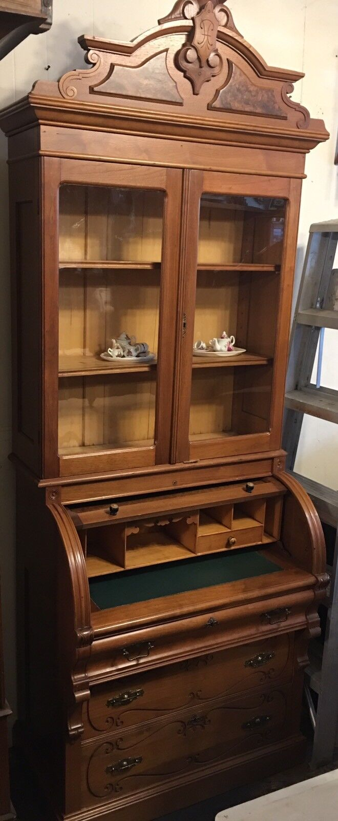 Antique Victorian Black Walnut Cylinder Roll Top Secretary Desk Nice 1 Of 9only Available