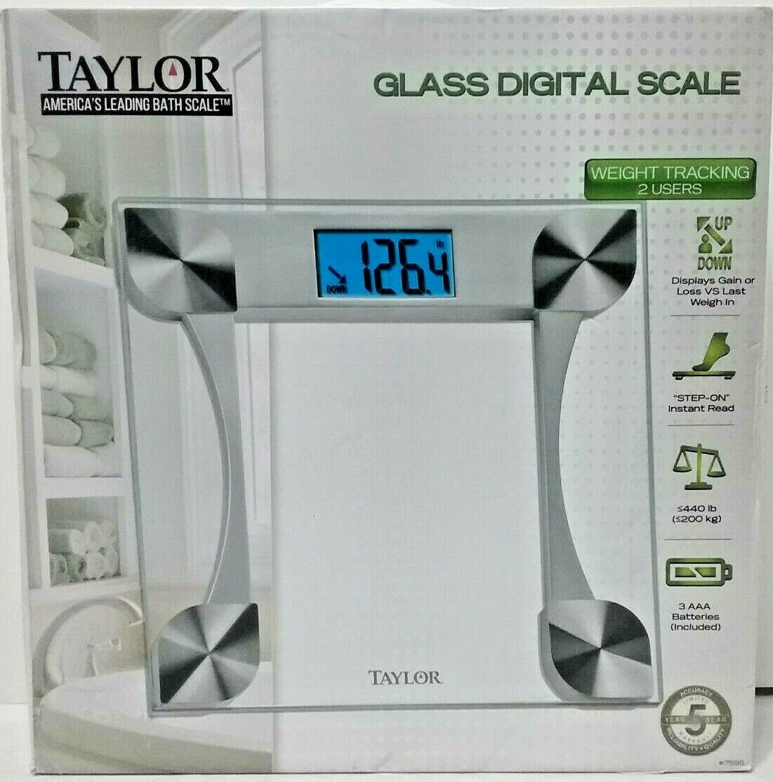 Taylor Glass Digital Bathroom Scale Weight Tracking (2 Users) 440lbs 1 Of  5Only 2 Available ...