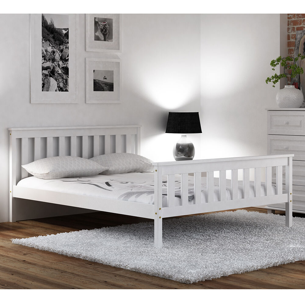 PINE WOOD BED Frame White 4ft Small Double 120x190cm Teen Slats ...