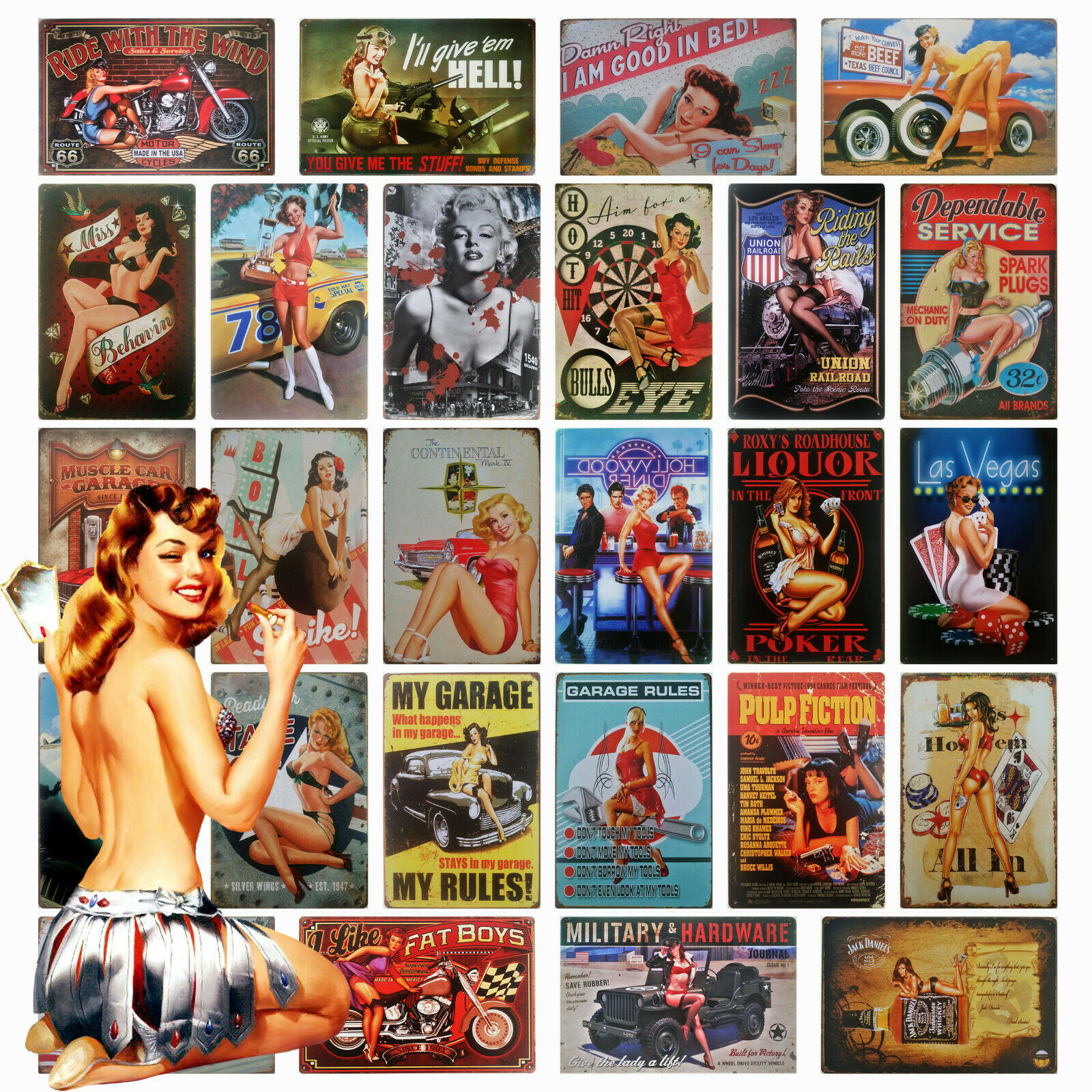pin up girl metal plaque vintage retro 50s 60s tin sign for garage man cave. Black Bedroom Furniture Sets. Home Design Ideas