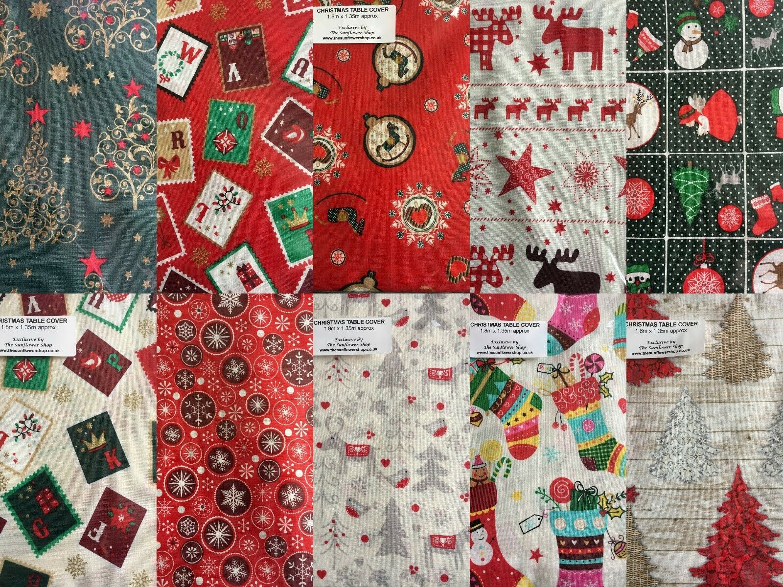 Christmas table cloths covers 100 cotton 10 designs 3 for Christmas table cover ideas