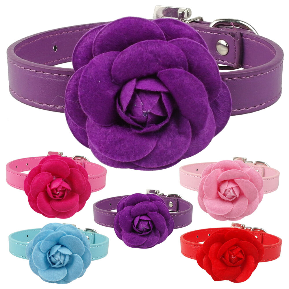 Cute Big Flower Studded Dog Collars Pu Leather For Girly Pet Puppy
