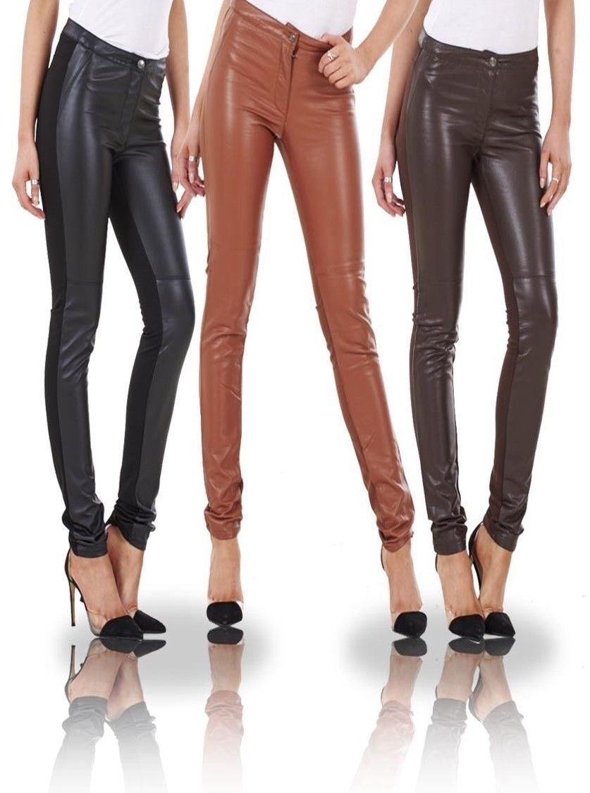 c9e7890746c20 Ex H&M Ladies Womens Leather Look & Cloth Leggings Wet Look Trousers pants  1 of 9FREE Shipping ...