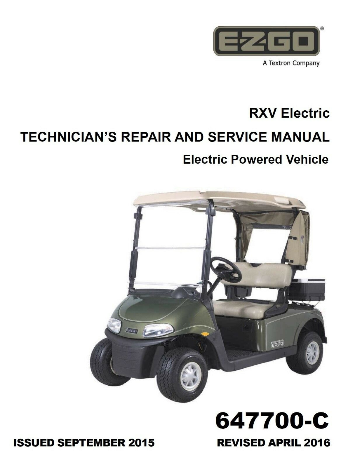 EZ Go E-Z-GO 2016 2017 RXV Electric Freedom Golf Car service manual on CD 1  of 2FREE Shipping See More