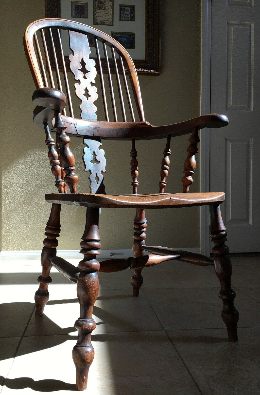 1800u0027s ENGLISH WINDSOR CHAIR Antique Primitive Wood Dining Arm Vtg Carved 1 of 10 See More & 1800u0027S ENGLISH WINDSOR CHAIR Antique Primitive Wood Dining Arm Vtg ...