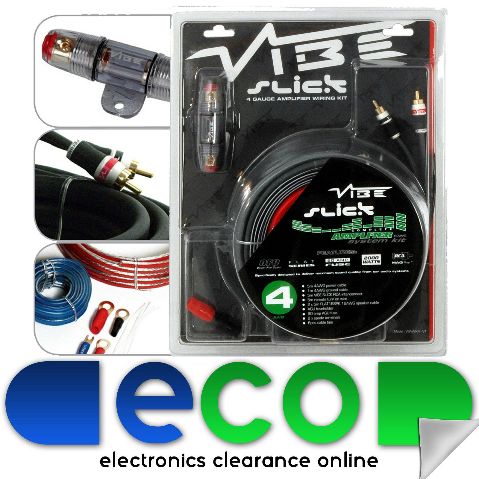Vibe Slick Vsawk8 Upto 1500 Watts 8 Awg Gauge Car Amplifier Amp Sub Audio Wiring Kit 1 Of 1free Shipping See More
