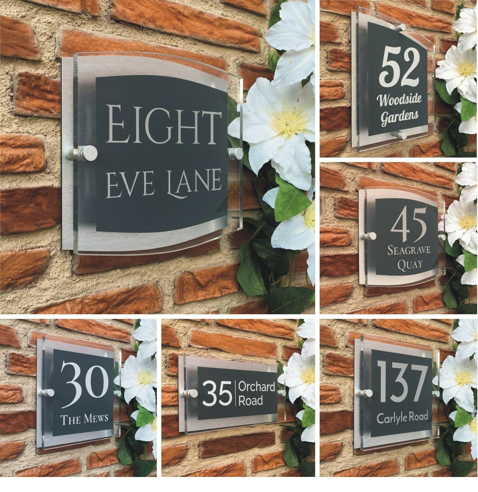 anthracite grey house number plaque door sign modern personalised