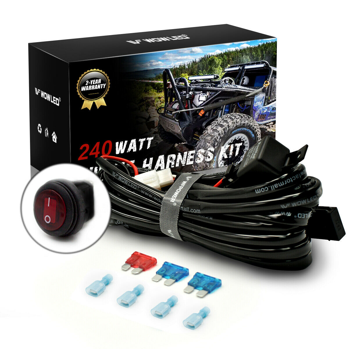 Wow Led Light Bar Wiring Harness Loom Relay Kit With 4pin Rocker Off Road Kits 1 Of 5free Shipping