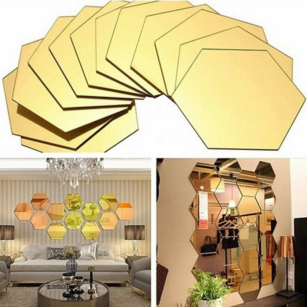 12PC 3D MIRROR Hexagon Vinyl Removable Wall Sticker Decal Home Room ...