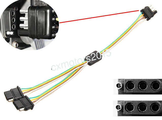 TRAILER LIGHT WIRING Harness add 4-Pin Plug 4 Way Flat Adapter Wire ...