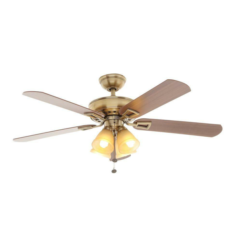 Indoor Antique Brass Ceiling Fan 1 Of 7only Available