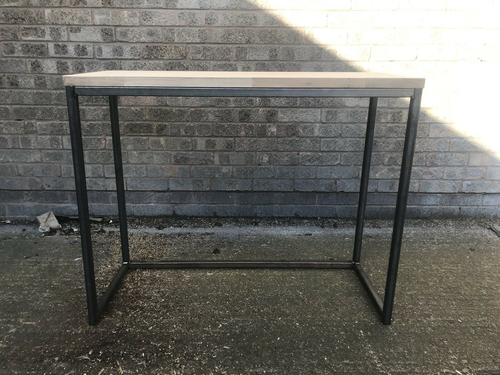 Industrial Metal Frame Console Table Hallway Furniture Solid Oak Wooden  100x40cm 1 Of 7 See More
