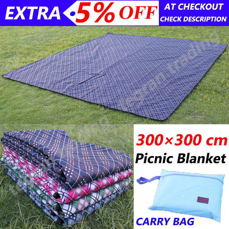 3M X 3M Extra Large Picnic Mat Cashmere Rug Waterproof