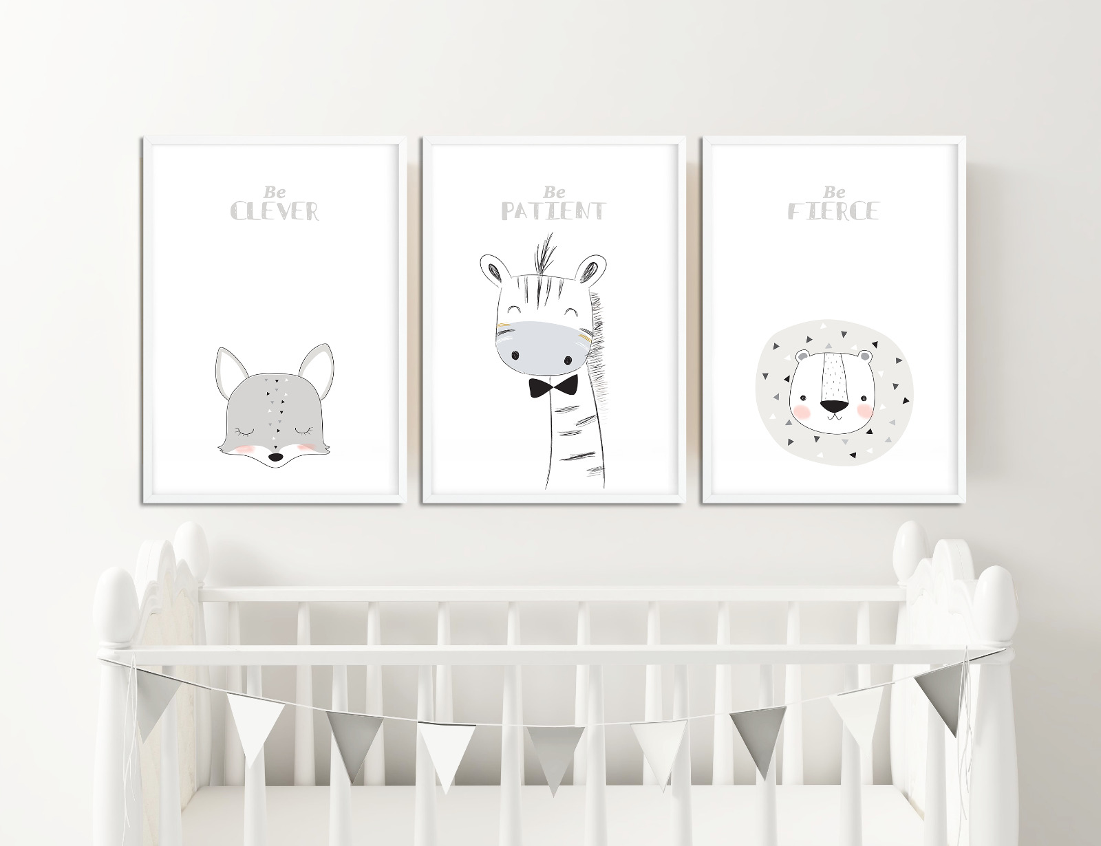Scandinavian Nursery Prints Animal Pictures For Decor Neutral Colours 1 Of 1free Shipping
