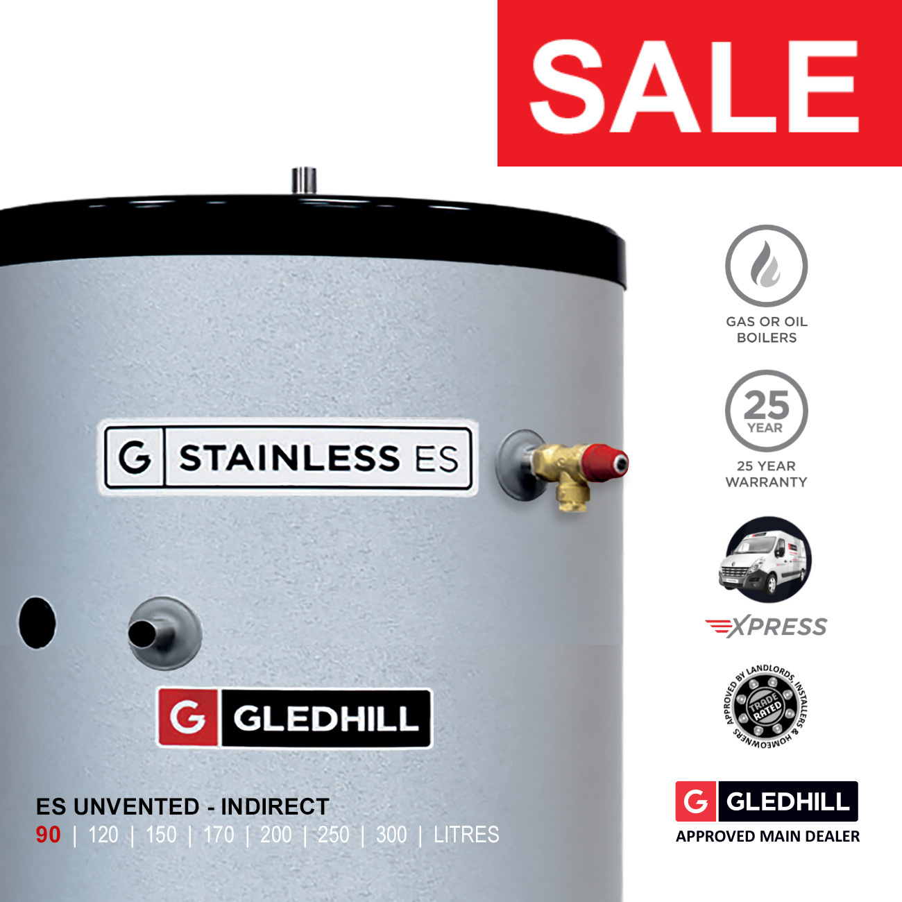 GLEDHILL STAINLESS ES Unvented Hot Water Cylinder 90L INDIRECT Ref ...