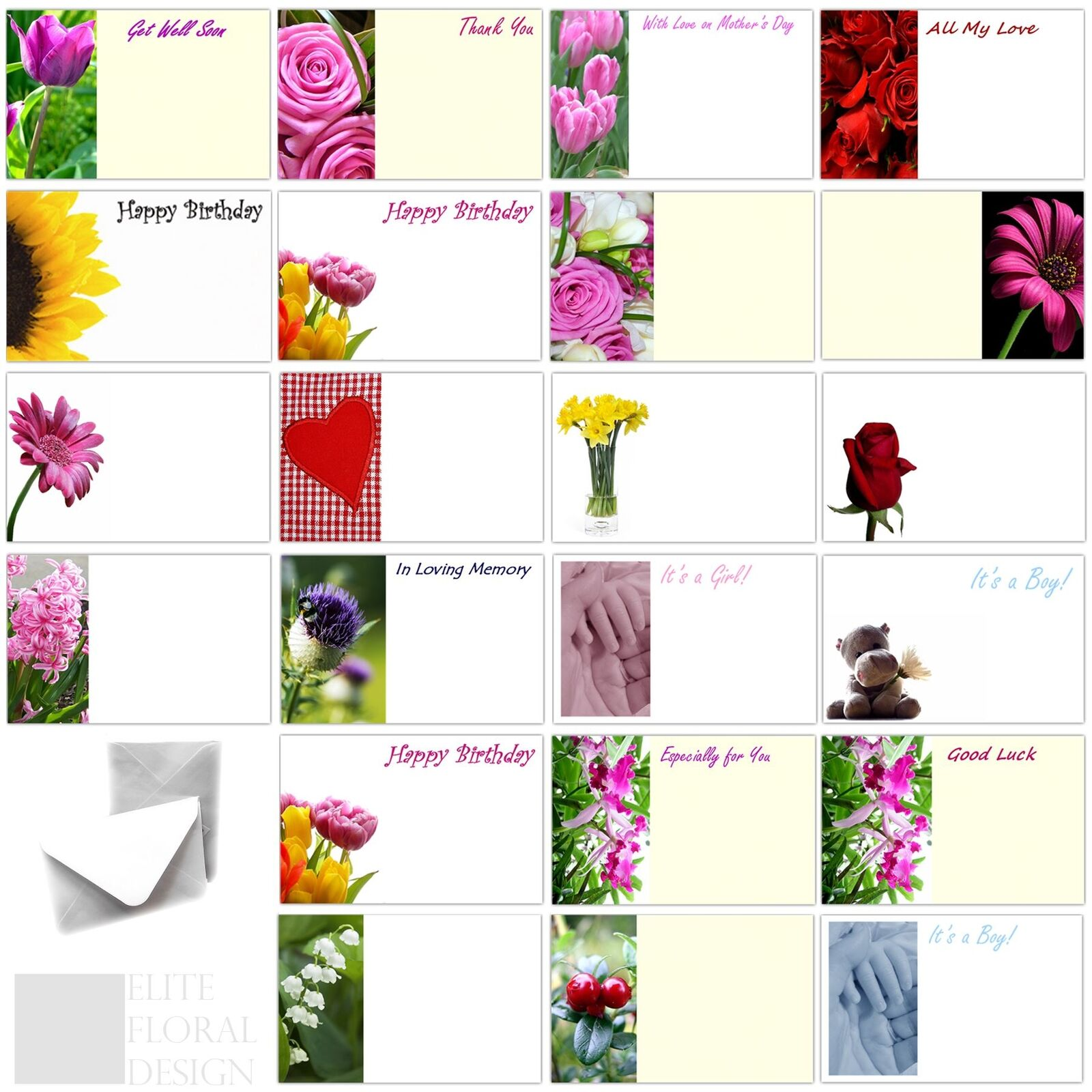 florist flower message cards birthday annivesary funeral mothers day