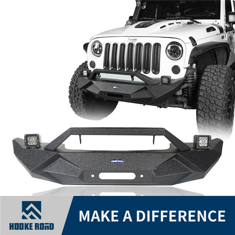 2007 2018 Jeep Wrangler JK Unlimited Front Bumper W/ Fog Light U0026 Winch  Plate 1 Of 12FREE Shipping See More