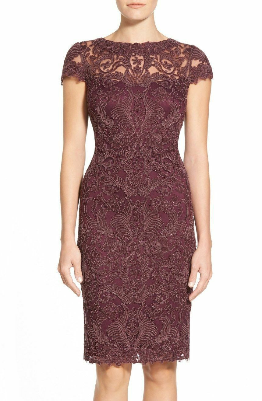 $360 TADASHI SHOJI CORED EMBROIDERED Illusion Yoke Lace Sheath Dress ...