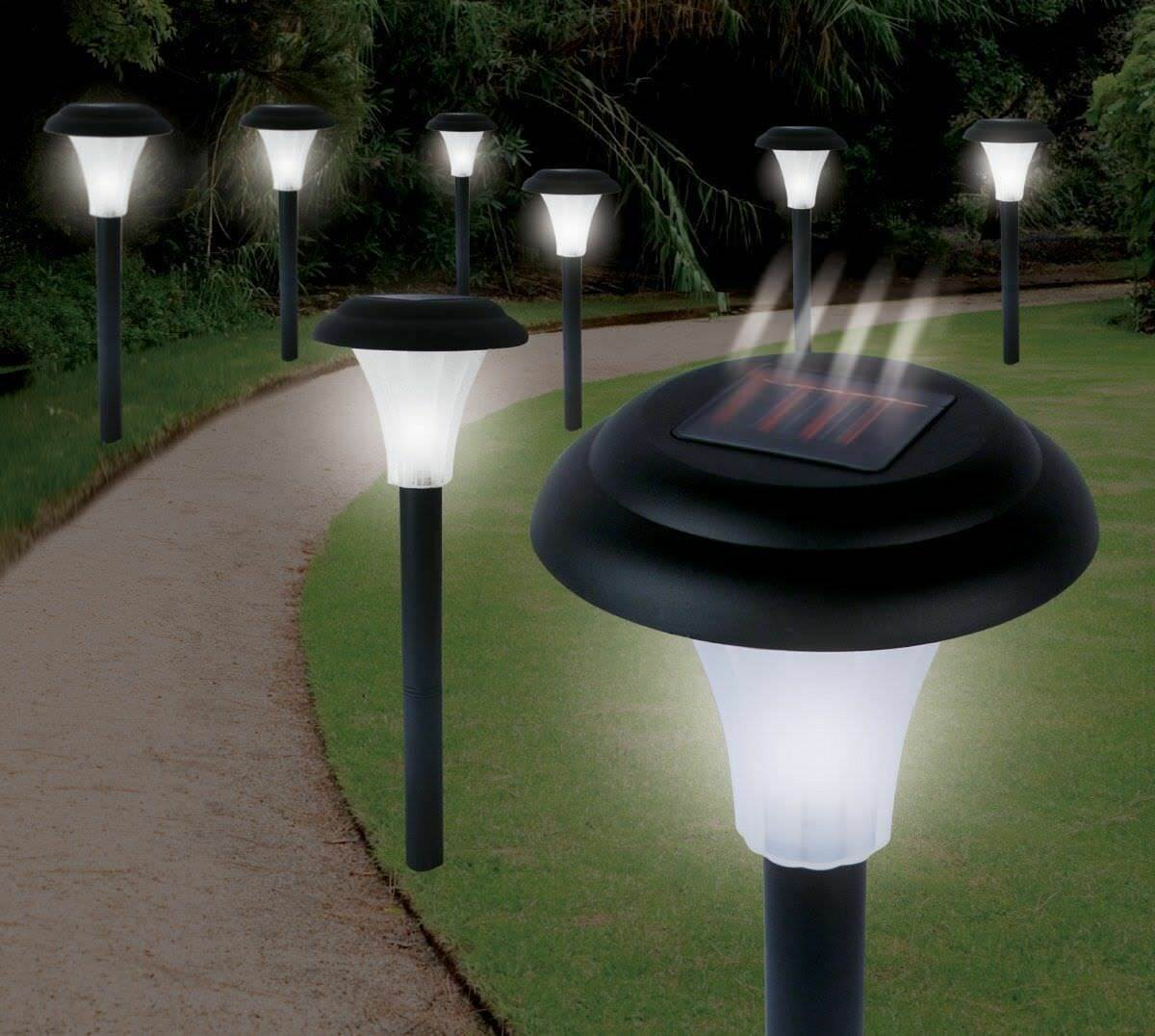 8 X Solar Powered Garden Lights Post Patio Outdoor Led Lighting Black Colour 1 Of 3free See More