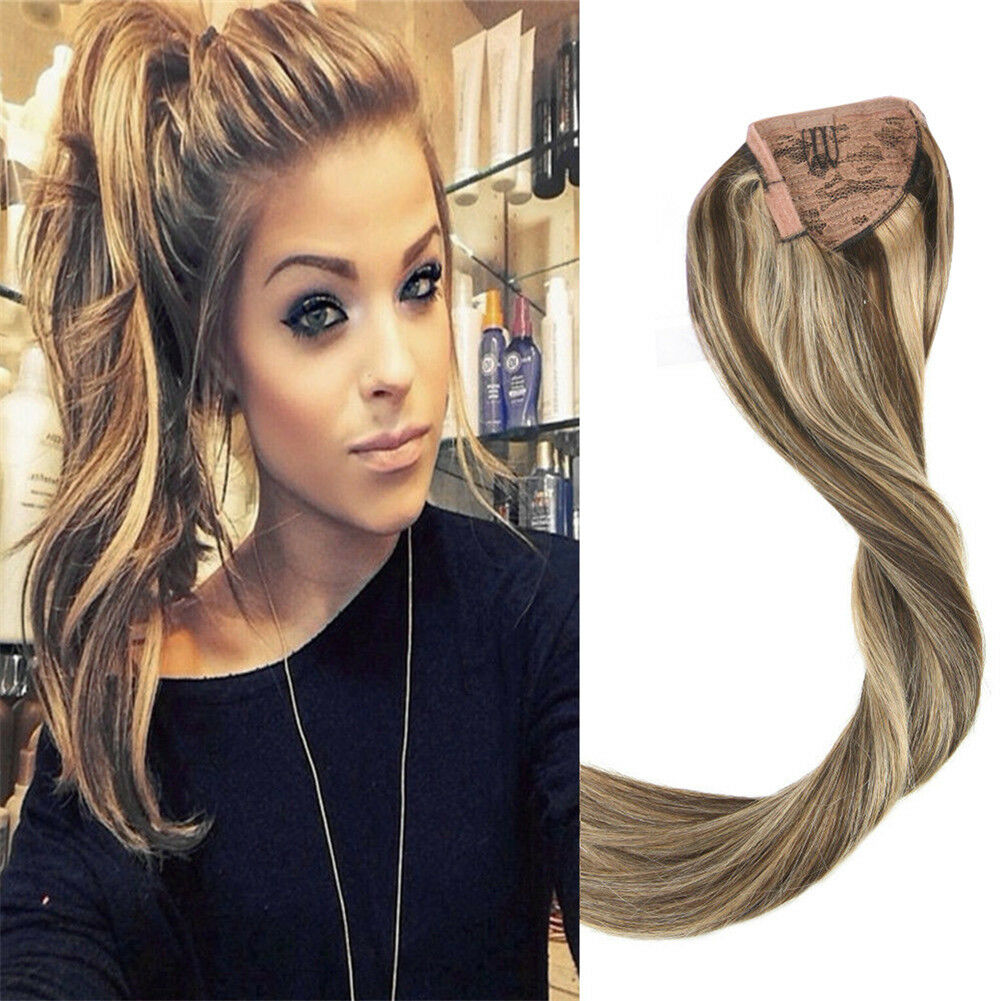 Long Straight One Piece Ponytail Human Hair Extension Brown Blonde