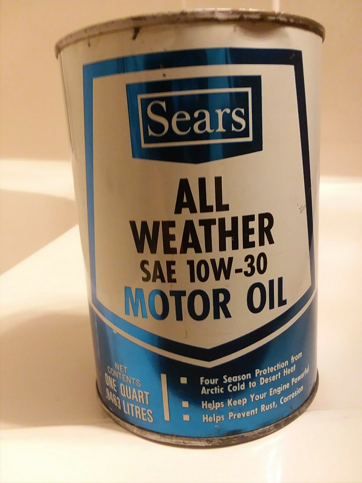 VINTAGE SEARS ALL WEATHER 10W30 MOTOR OIL CAN - 1 Quart- full ...