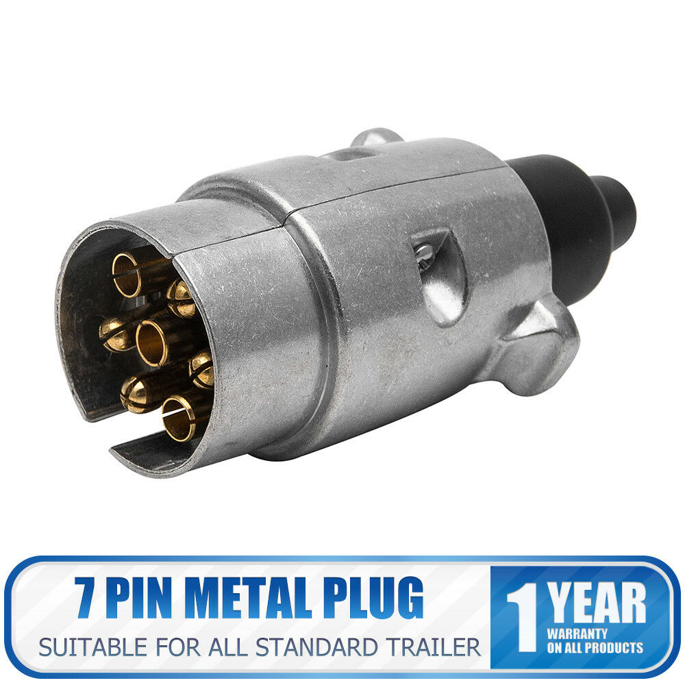 12v 7pin Trailer Plug Round Wiring Lights Towing Metal Caravan Truck A Boat Socket 1 Of 7free Shipping See More
