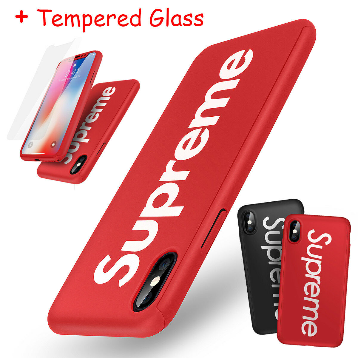 Supreme Iphone X 6s 7 8 Plus 360 Full Protection Hard Case Cover Xiaomi Redmi Note 5 Pro Hardcase Protective Tempered Glass 1 Of 12free Shipping