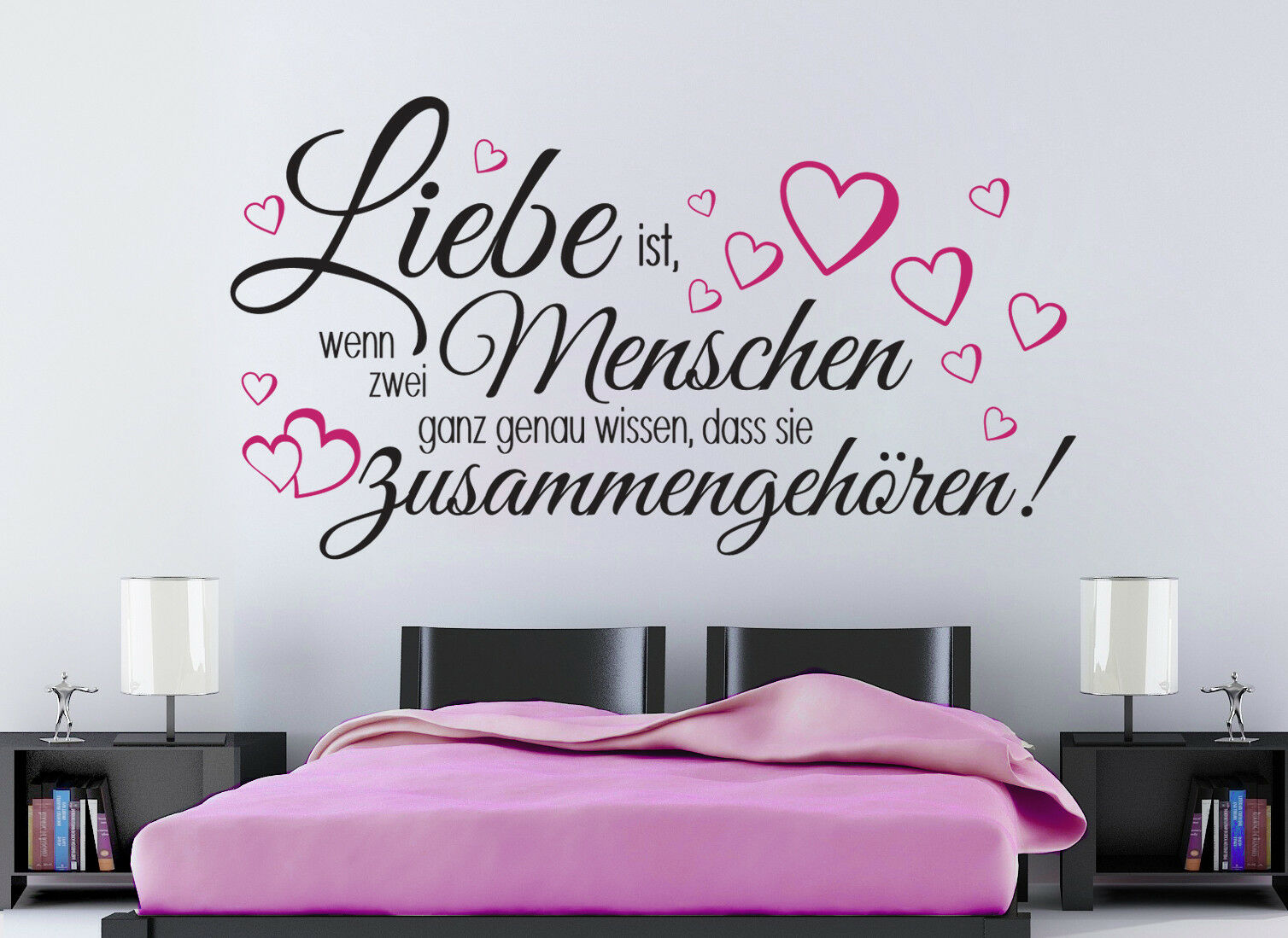 liebe ist hochzeit schlafzimmer spr che herz wandaufkleber wandspruch wandtattoo eur 15 95. Black Bedroom Furniture Sets. Home Design Ideas