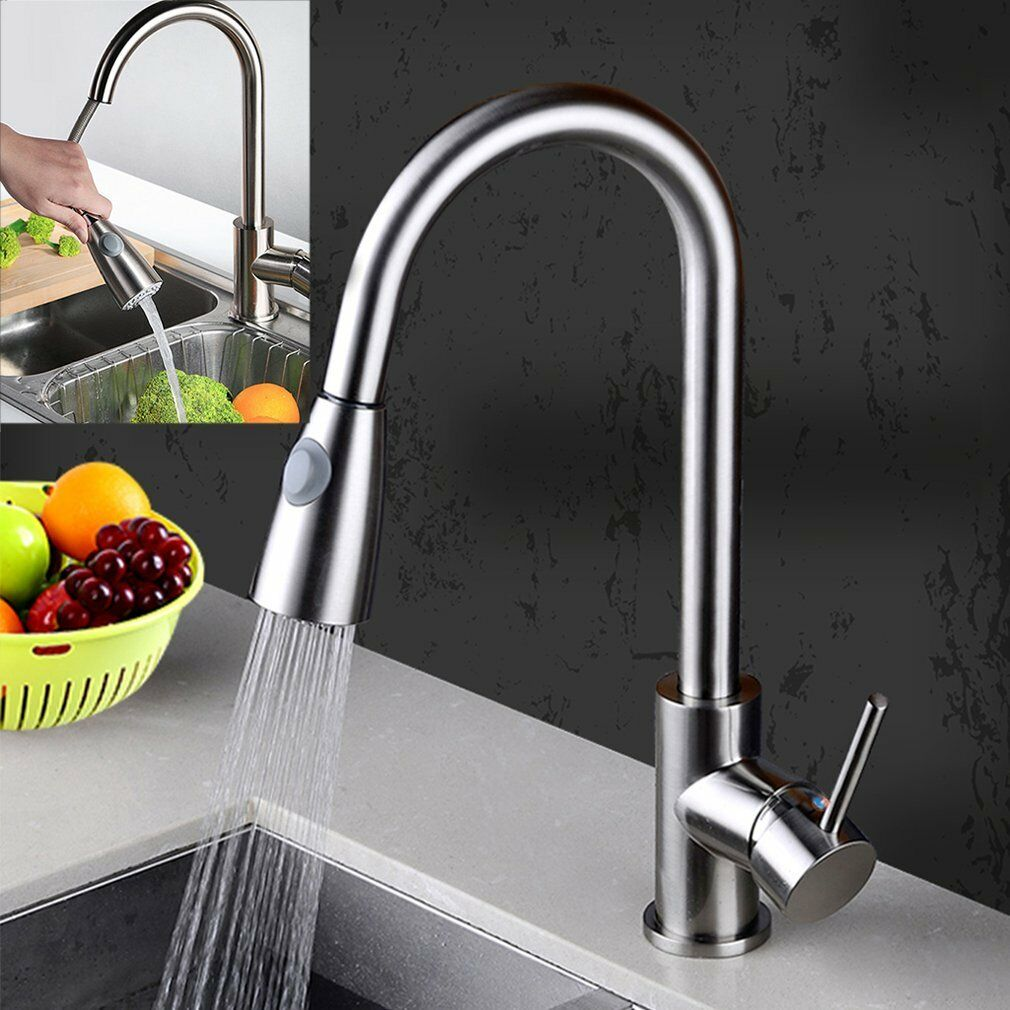 NEW KITCHEN SINK Pull Out Spray Mixer Tap Brushed Steel Chrome Hot ...