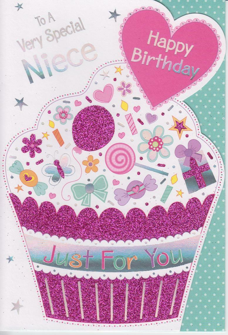 Glittery Cut Out Birthday Greeting Card To A Very Special Niece