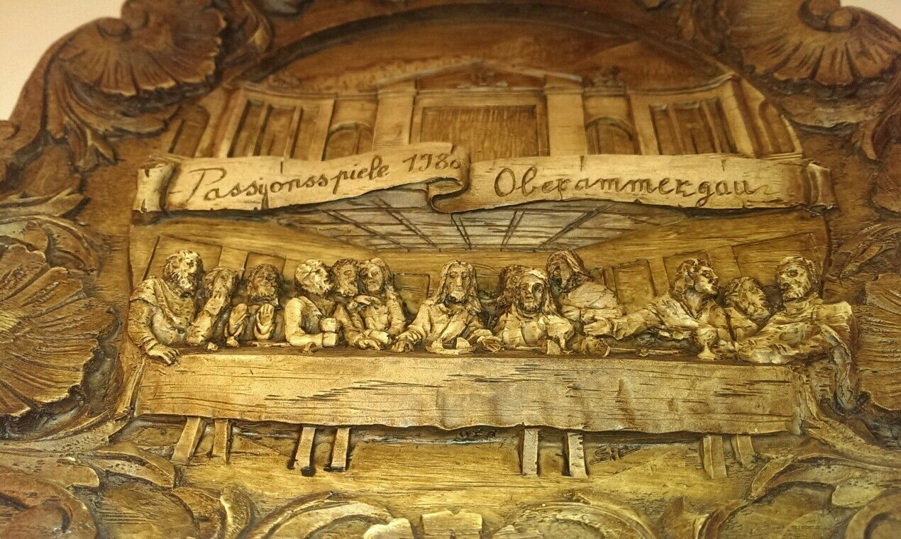THE LAST SUPPER Signed Plate Relief Style Wall Hanging Religious Art ...