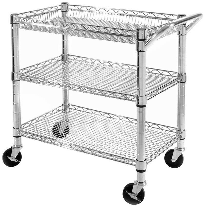 3-TIER ROLLING UTILITY Cart Chrome Steel Wire Storage Tool ...