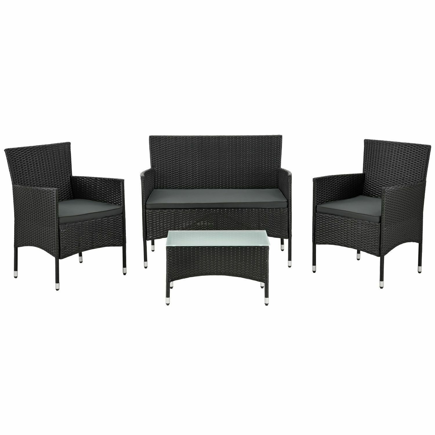 polyrattan gartenm bel lounge tisch sitzgruppe rattan poly schwarz dunkelgrau eur 114 95. Black Bedroom Furniture Sets. Home Design Ideas