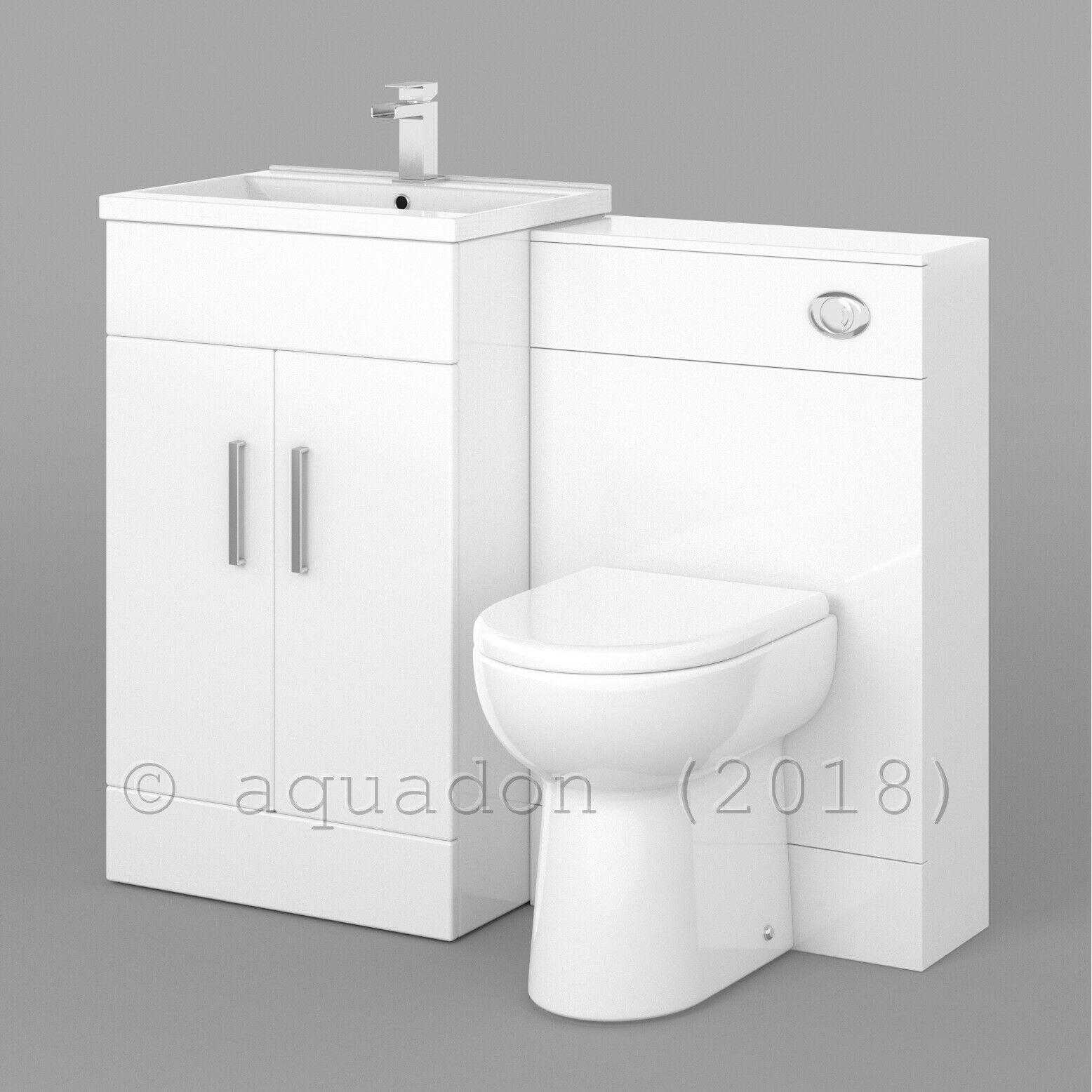 500MM WHITE VANITY Unit Basin Sink and Toilet Bathroom Furniture ...