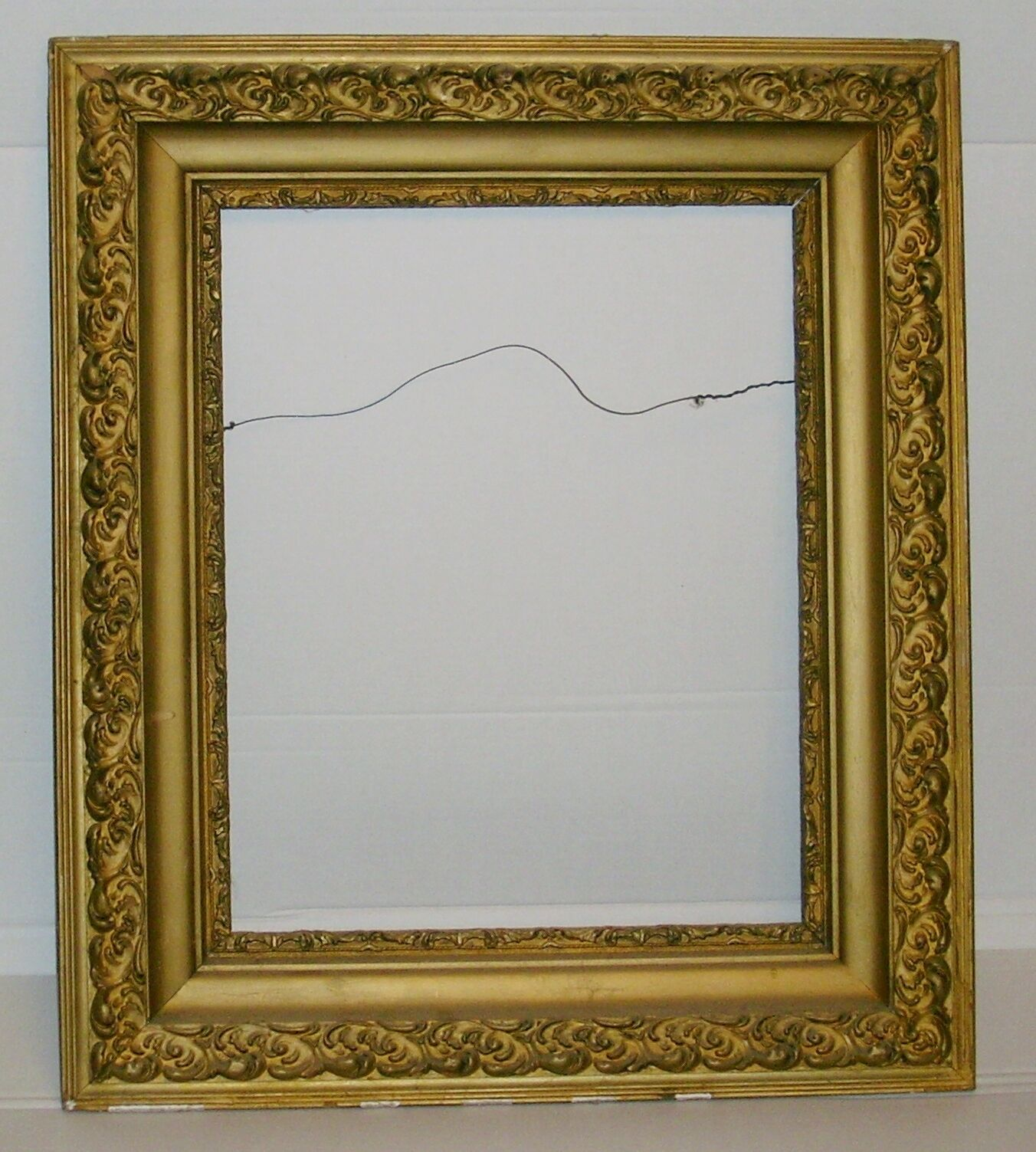 Large Old Antique Gilt Gold Ornate Wood Gesso Picture Painting Mirror Frame  • $399.00