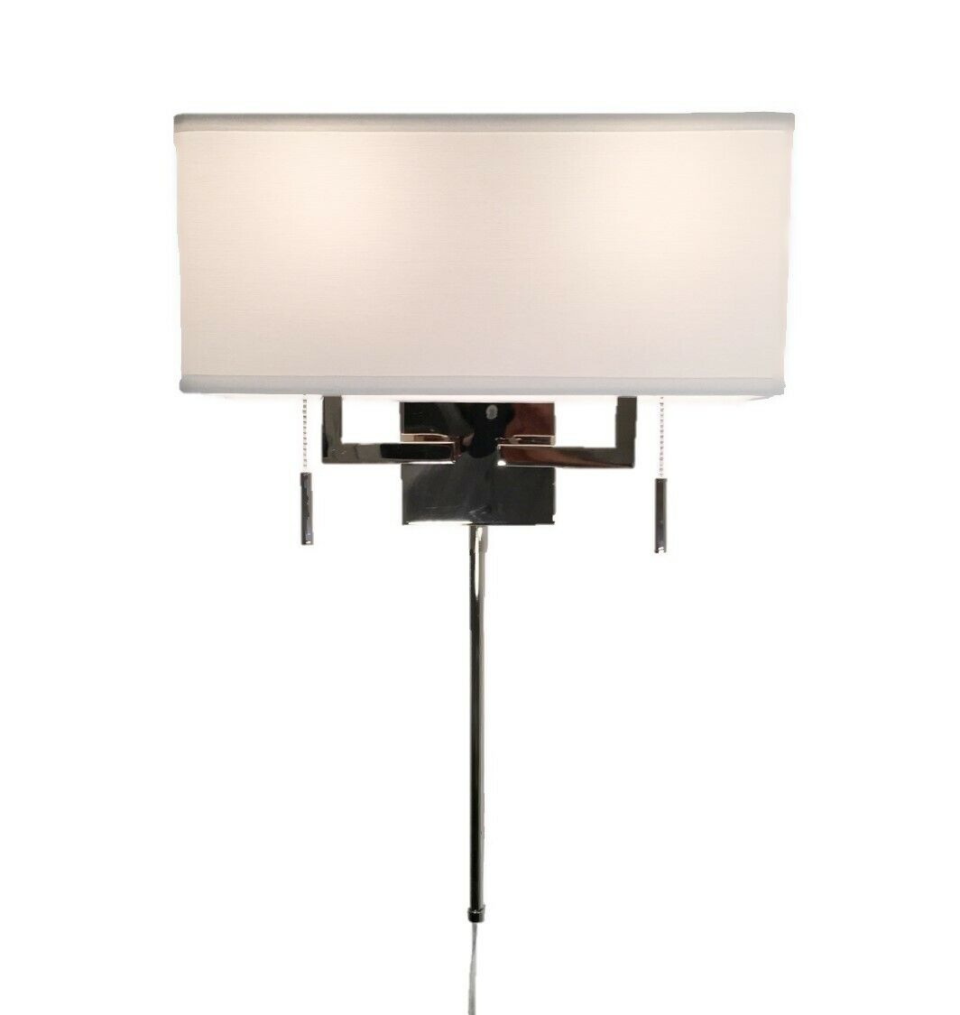 Polished Nickel Modern Wall Sconce Fixture With Rect Shade Hard Wiring Sconces Hardwire Or Plug In 1 Of 7