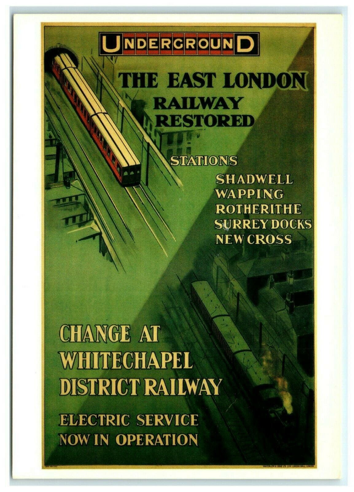 Postcard London Transport Museum Underground Ad reproduction East - The East London Line: Ten years on...