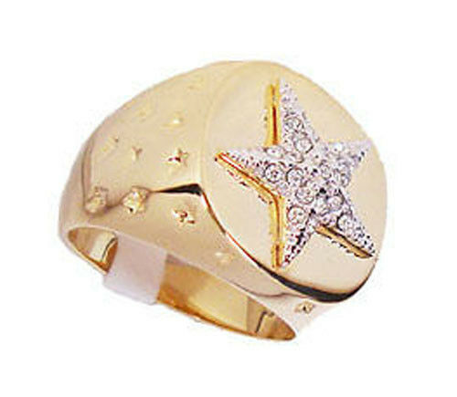 Mens Sea Star 18kt Gold Plated Lucky Ring New