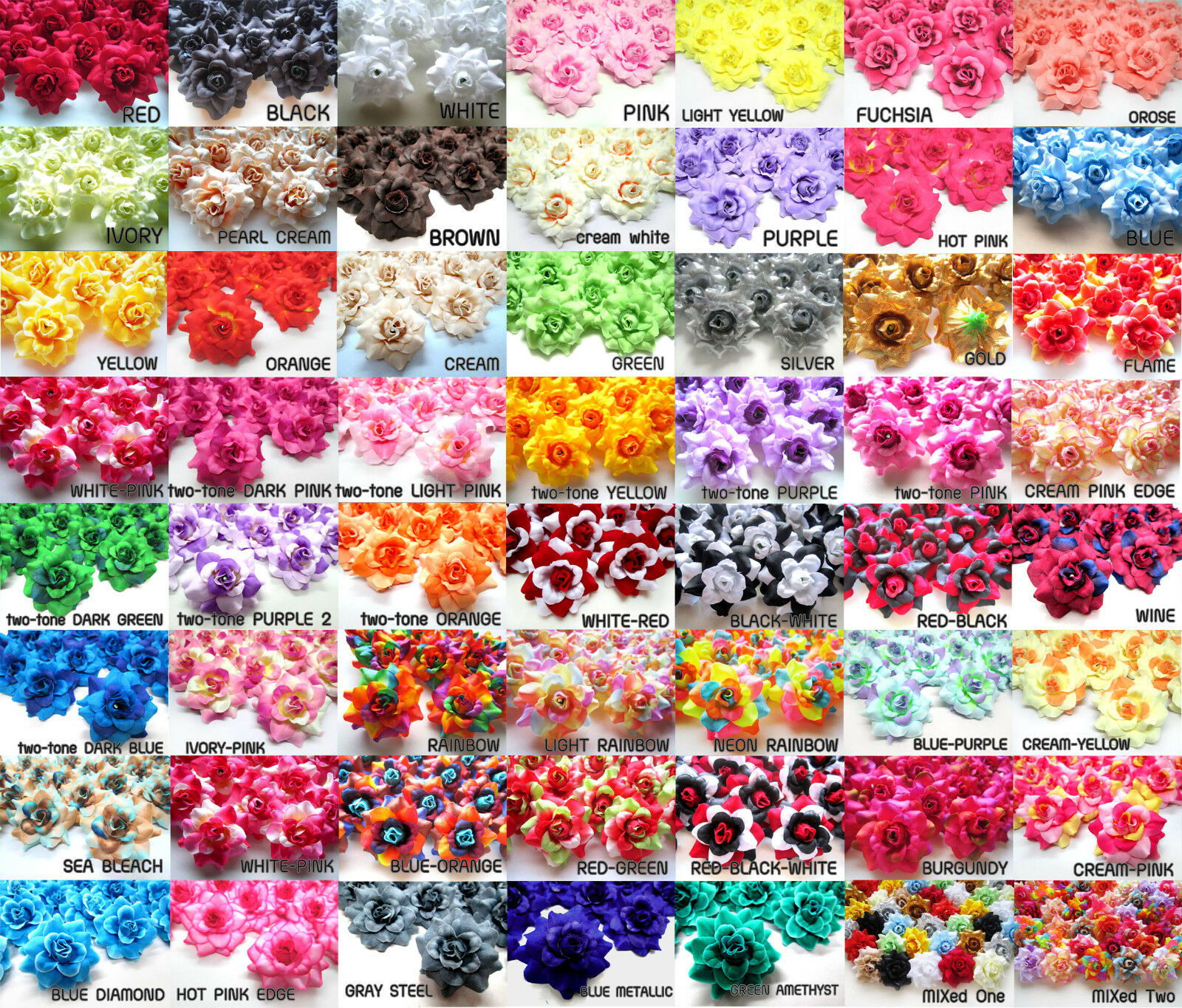 100X Roses Artificial Silk Flower Heads Wholesale Lots for Clips Wedding 1 75