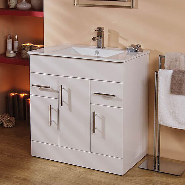 Bathroom Vanity Cabinet 750mm White Floor Standing Storage Unit Ceramic Sink