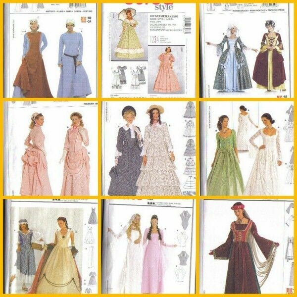 BURDA SEWING Pattern Historical Reenactment Dress Costume Misses W ...