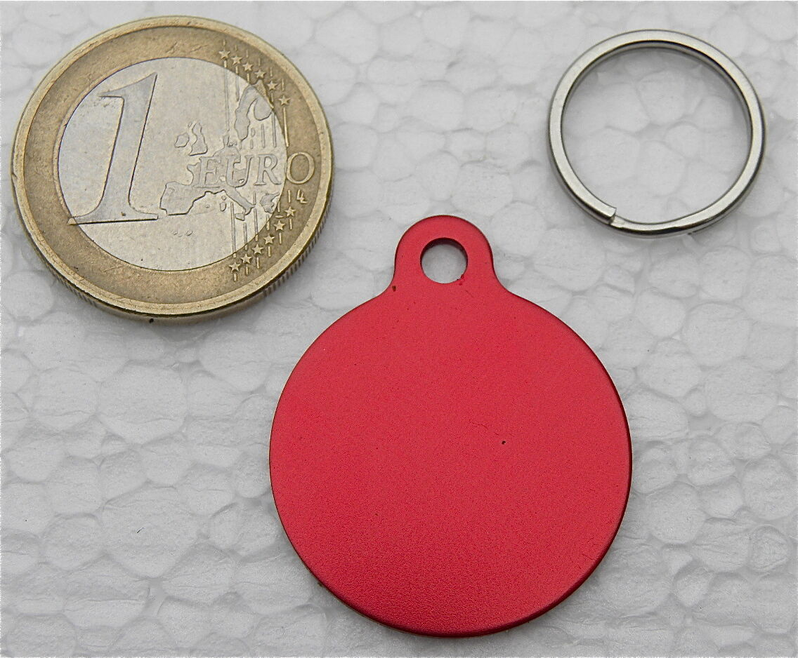 MEDAILLE GRAVEE RONDE ROUGE CHIEN CHAT collier medalla cane hund katze