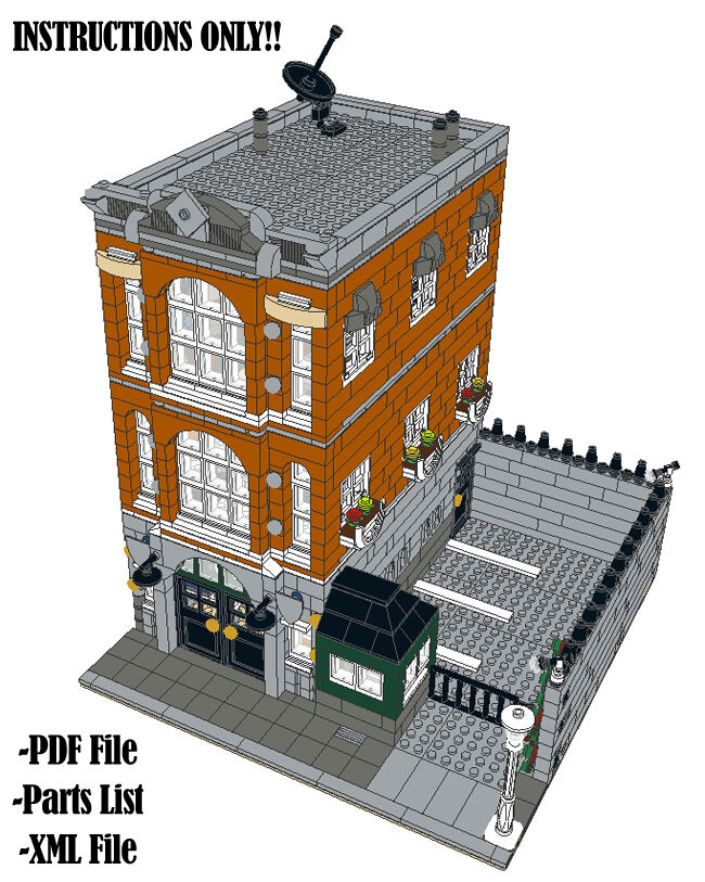 Lego Custom Modular Building Consulate Instructions Only 10224