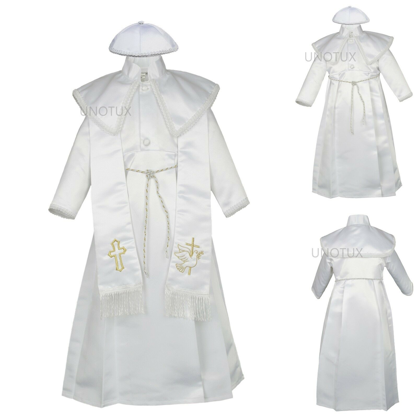 NEW BABY BOY Christening Baptism Gown Suit Outfit white sz:0,1,2,3,4 ...