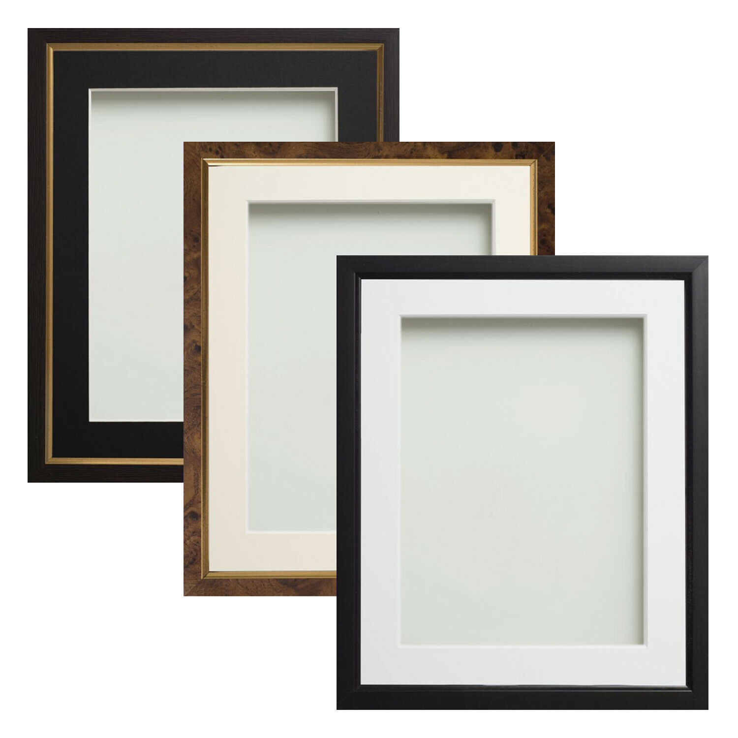BLACK GOLD WALNUT Effect Picture Photo Frames With Choice of Mount ...