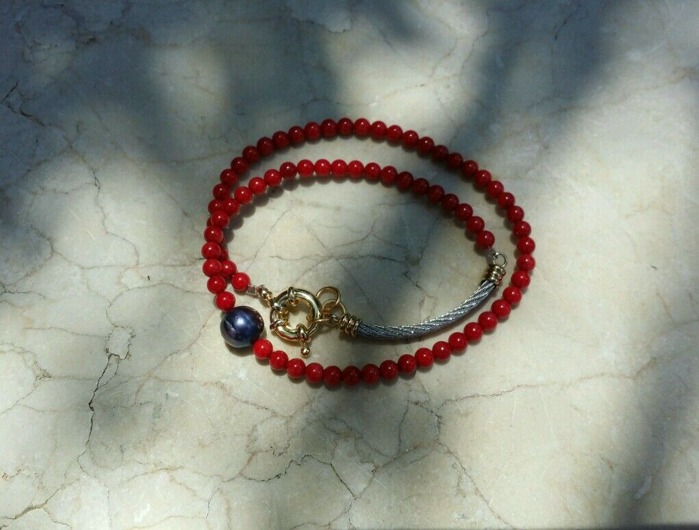 Red Coral And Tahitan Pearl One Of A Kind Bracelet