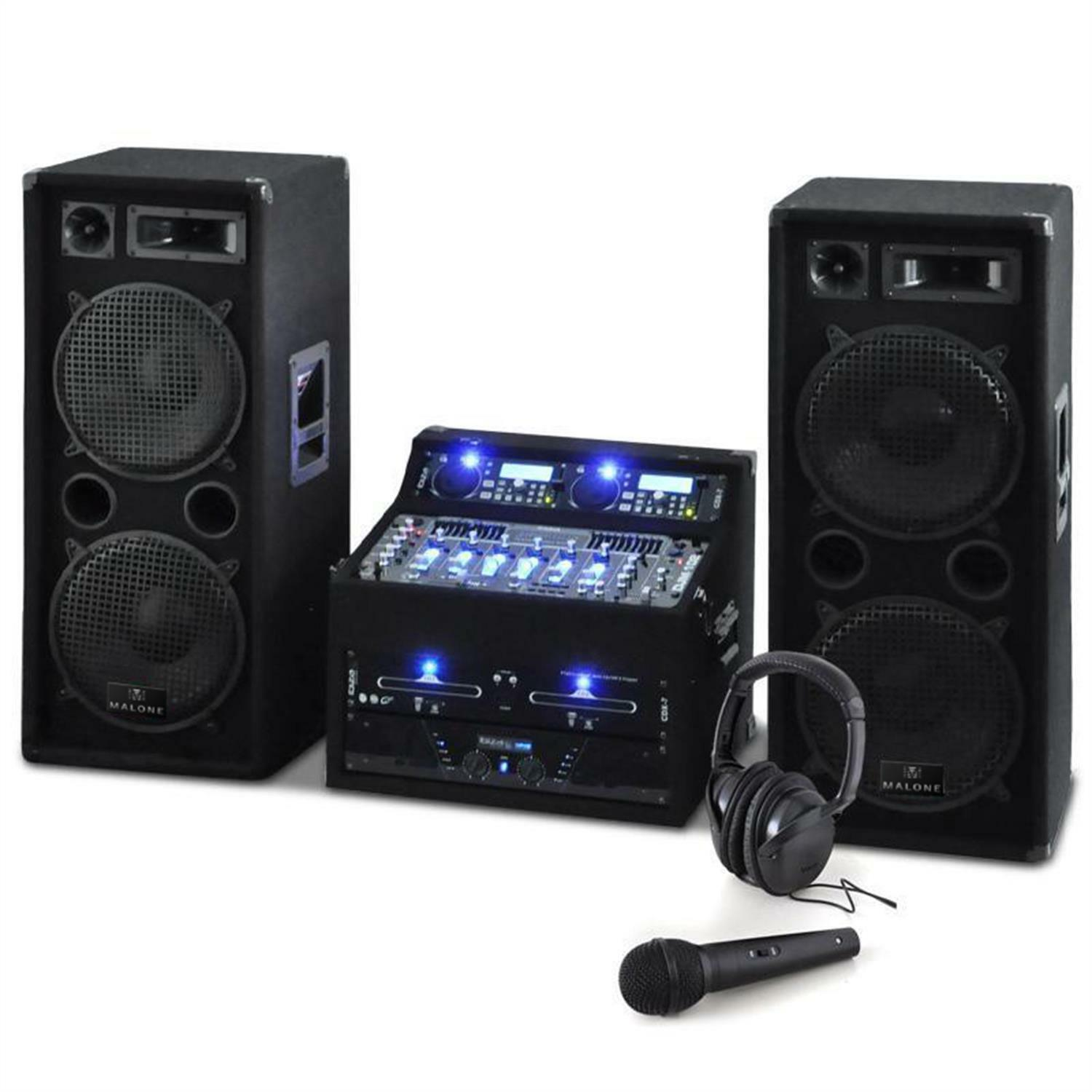 sono enceinte dj avec double lecteur cd usb ampli pa mixer 4 canaux 2000w noir eur 999 99. Black Bedroom Furniture Sets. Home Design Ideas